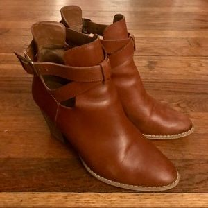 Reba Brown Leather Ankle Boots - 9M